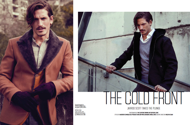 AUGUST MAN MAGAZINE- Jarrod Scott in The Cold Front by Pat Supsiri, Andrew Zumbo, Fall 2013, www.imageamplified.com, Image Amplified