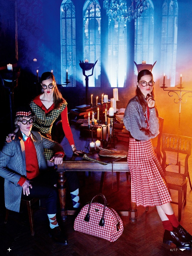 VOGUE JAPAN- Lindsey Wixson, Bette Franke & Caroline Brasch Nielsen in The New School Uniform by Giampaolo Sgura. Anna Dello Russo, October 2013, www.imageamplified.com, Image Amplified (5)