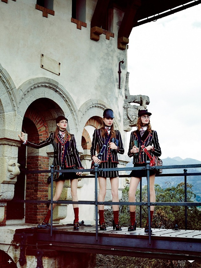 VOGUE JAPAN- Lindsey Wixson, Bette Franke & Caroline Brasch Nielsen in The New School Uniform by Giampaolo Sgura. Anna Dello Russo, October 2013, www.imageamplified.com, Image Amplified (4)