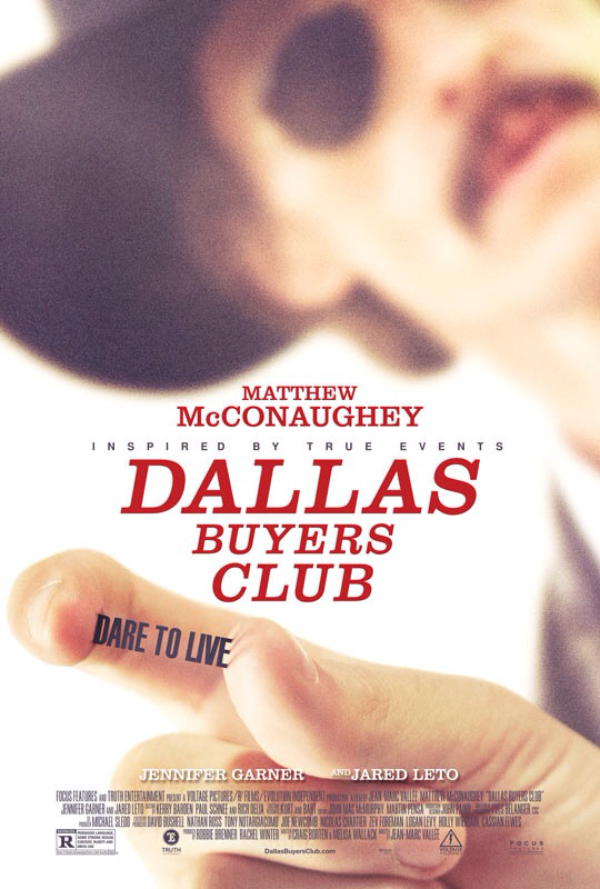 CINEMA SCAPE: Dallas Buyers Club by Jean-Marc Vallee. Starring Matthew McConaughey, Jennifer Garner & Jared Leto in Theaters November 1, 2013