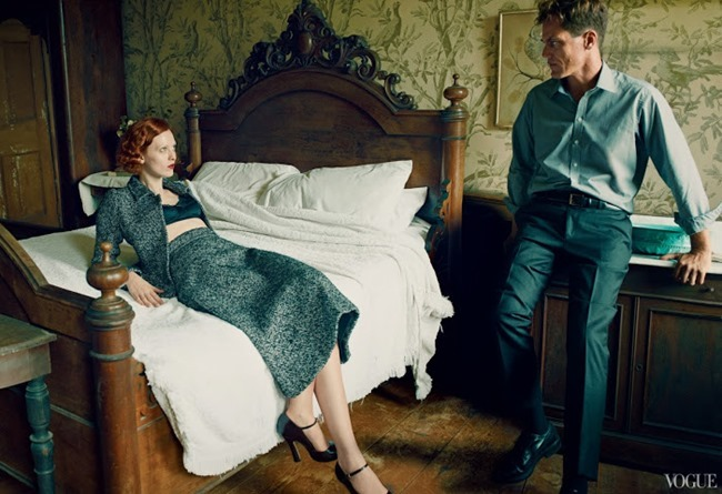 VOGUE MAGAZINE- Karen Elson, Hugh Dancy & Michael Shannon in The Other Man by Annie Leibovitz. October 2013, www.imageamplified.com, Image Amplified (2)