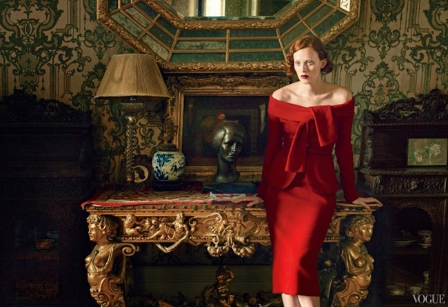 VOGUE MAGAZINE- Karen Elson, Hugh Dancy & Michael Shannon in The Other Man by Annie Leibovitz. October 2013, www.imageamplified.com, Image Amplified (4)