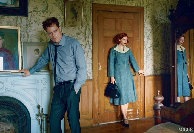 VOGUE MAGAZINE- Karen Elson, Hugh Dancy & Michael Shannon in The Other Man by Annie Leibovitz. October 2013, www.imageamplified.com, Image Amplified (5)