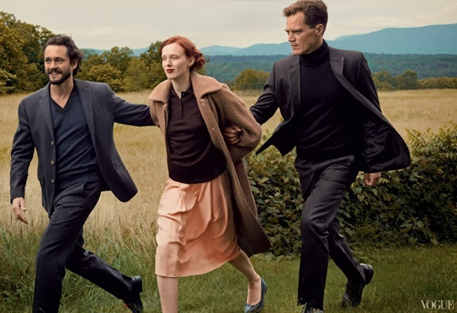 VOGUE MAGAZINE- Karen Elson, Hugh Dancy & Michael Shannon in The Other Man by Annie Leibovitz. October 2013, www.imageamplified.com, Image Amplified