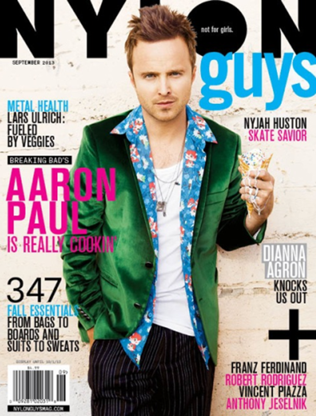 NYLON GUYS MAGAZINE- Aaron Paul by Kenneth Cappello. September 2013, www.imageamplified.com, Image Amplified