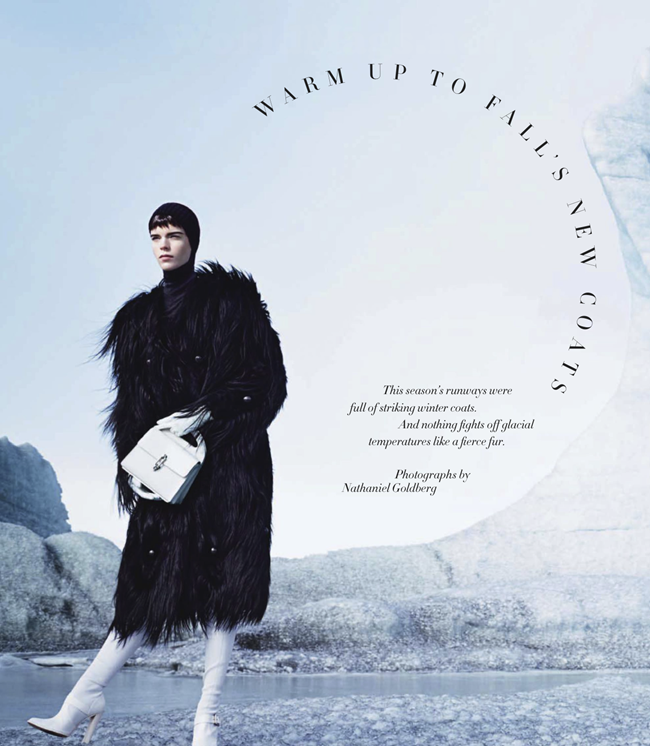 HARPER'S BAZAAR MAGAZINE- Meghan Collison in Warm Up To Fall's New Coats by Nathaniel Goldberg. Alastair McKimm, November 2013, www.imageamplified.com, Image Amplified