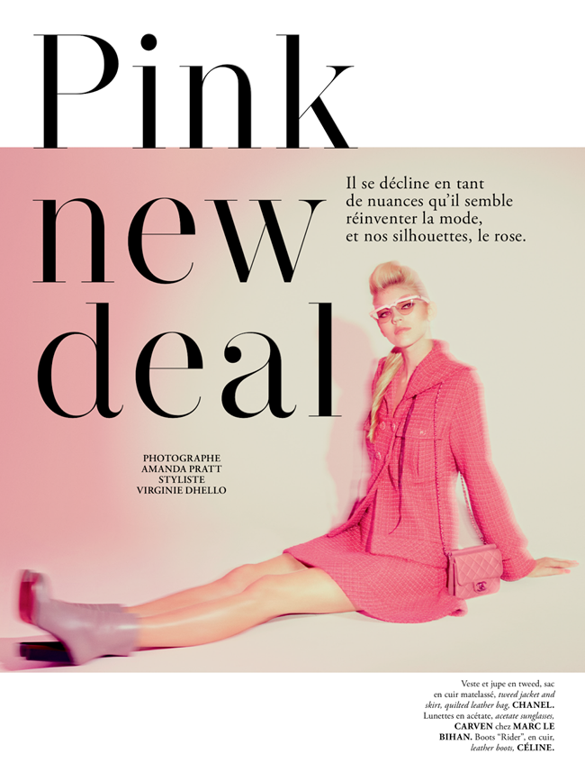 MADAME AIR FRANCE- Devon Windsor in Pink New Deal by Amanda Pratt. November 2013, Virginie Dhello, www.imageamplified.com, Image Amplified