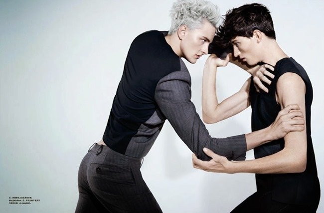 NUMERO HOMME CHINA- Benjamin Jarvis & Jester White in Face Off by Haruki Korikawa. Jason Leung, Fall 2013, www.imageamplified.com, Image Amplified (1)