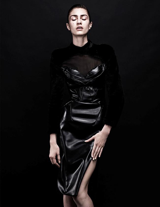 INTERVIEW GERMANY- Marine Deleeuw in Black Dress by Sharif Hamza. Julia von Boehm, November 2013, www.imageamplified.com, Image Amplified (4)