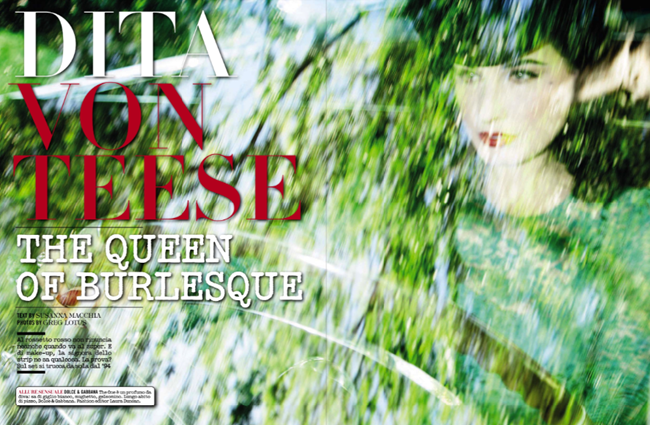 VOGUE ITALIA- Dita von Teese in The Queen of Burlesque by Greg Lotus. Laura Duncan, November 2013, www.imageamplified.com, Image Amplified