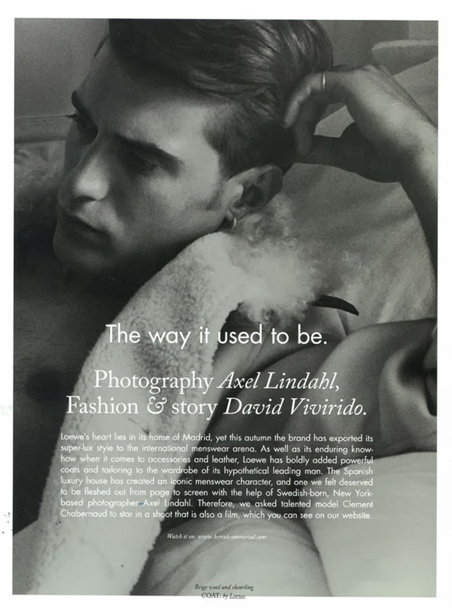 HERCULES MAGAZINE- Clement Chabernaud in The Way It Used To Be by Axel LIndahl. David Vivirido, Fall 2013, www.imageamplified.com, Image Amplified