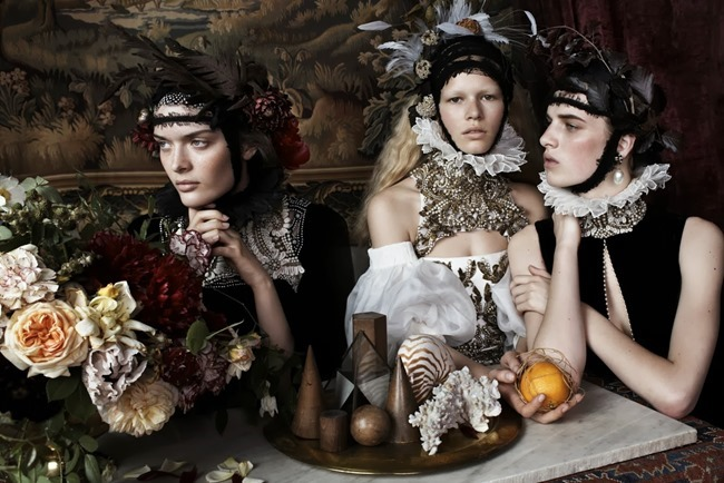 VOGUE UK- Anna Ewers, Ashleigh Good & Sam Rollinson in Still Life by Josh Olins. Lucinda Chambers, December 2013, www.imageamplified.com, Image Amplified