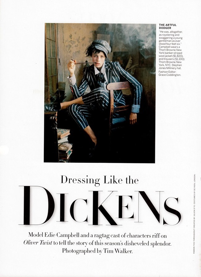 VOGUE MAGAZINE- Edie Campbell in Dressing Like The Dickens by Tim Walker. Grace Coddington, December 2013, www.imageamplified.com, Image Amplified