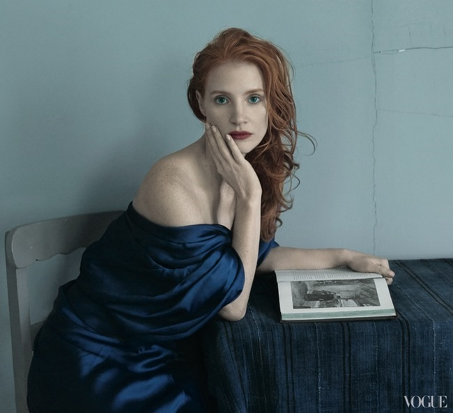 VOGUE MAGAZINE- Jessica Chastain by Annie Leibovitz. December 2013, www.imageamplified.com, Image Amplified
