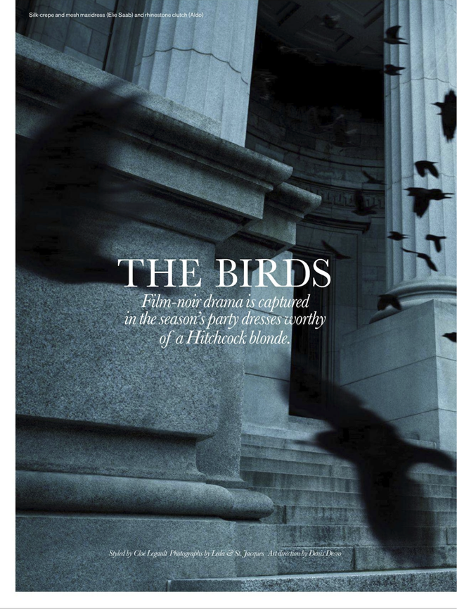 ELLE CANADA- Pamela Bernier in The Birds by Leda & St.Jacques. Cloe Legault, December 2013, www.imageamplified.com, Image Amplified