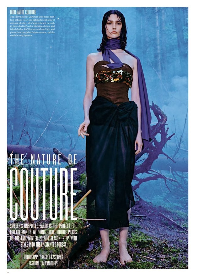 V MAGAZINE- Manon Leloup in The Nature of Couture by Kacper Kasprzyk. Tom Van Dorpe, Fall 2013, www.imageamplified.com, Image Amplified