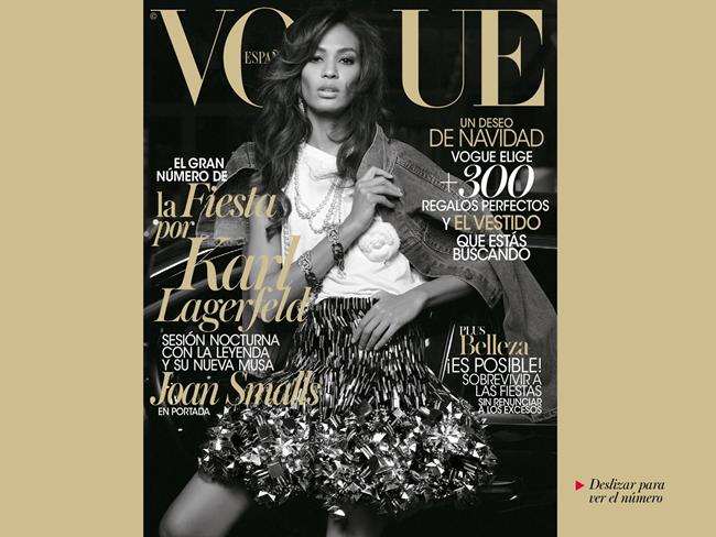 VOGUE SPAIN- Joan Smalls in Midnight in Paris by Karl Lagerfeld. Belen Antolin, December 2013, www.imageamplified.com, Image Amplified
