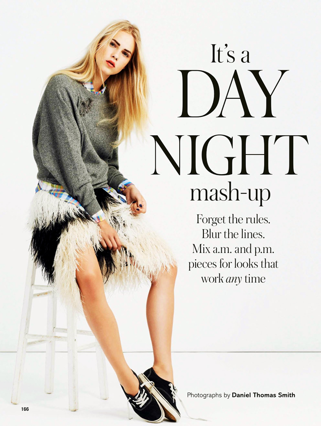 GLAMOUR UK- Line Brems in It's A Day Night Mash-up by Daniel Thomas Smith. Sophie Cooper, January 2014, www.imageamplified.com, Image Amplified