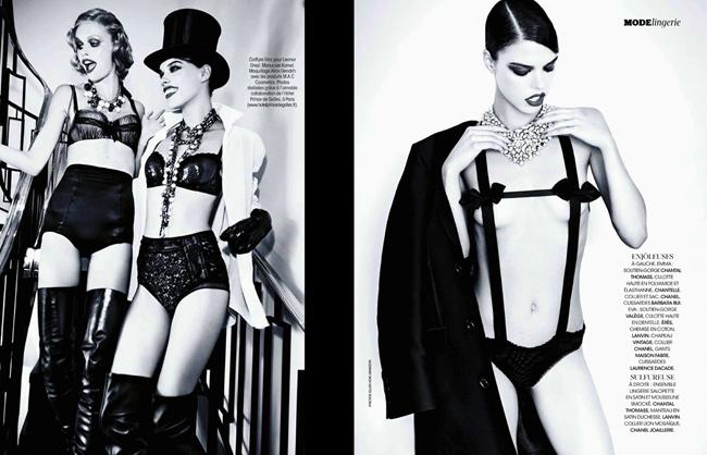MADAME FIGARO MAGAZINE- Emma Stern Nielsen & Eva Doll in Sexy Boudoir   Glam Cabaret by Ellen von Unwerth. Nicole Picart, December 2013, www.imageamplified.com, Image amplified (10)