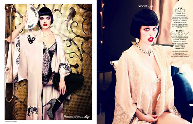 MADAME FIGARO MAGAZINE- Emma Stern Nielsen & Eva Doll in Sexy Boudoir   Glam Cabaret by Ellen von Unwerth. Nicole Picart, December 2013, www.imageamplified.com, Image amplified (5)