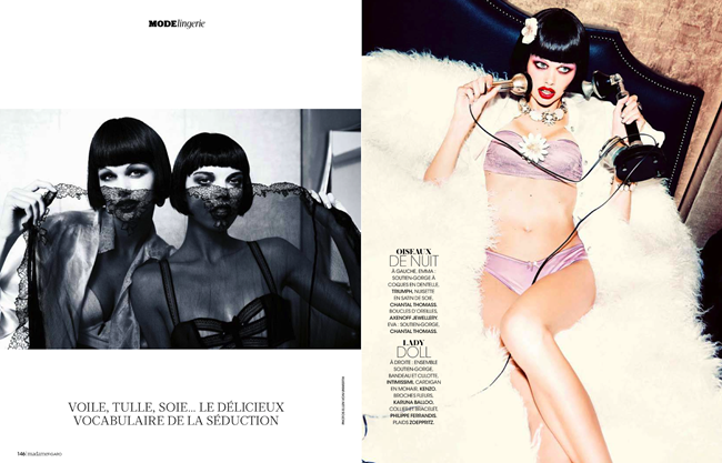 MADAME FIGARO MAGAZINE- Emma Stern Nielsen & Eva Doll in Sexy Boudoir   Glam Cabaret by Ellen von Unwerth. Nicole Picart, December 2013, www.imageamplified.com, Image amplified (3)