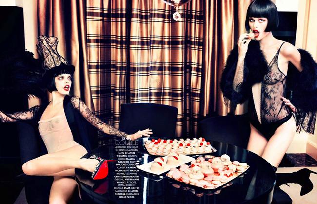 MADAME FIGARO MAGAZINE- Emma Stern Nielsen & Eva Doll in Sexy Boudoir   Glam Cabaret by Ellen von Unwerth. Nicole Picart, December 2013, www.imageamplified.com, Image amplified (4)