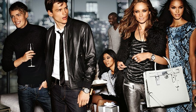 CAMPAIGN- Karmen Pedaru, Simon Nessman, Corey Baptiste & Victor Nylander for Michael Kors Holiday 2013 by Mario Testino. www.imageamplified.com, Image Amplified