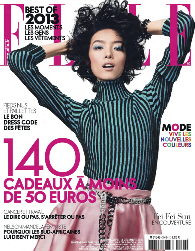 ELLE FRANCE- Fei Fei Sun in Couleurs Du Temps by Andreas Sjodin. Michele Beaurenaut, December 2013, www.imageamplified.com, Image amplified