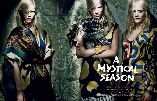 VOGUE JAPAN Maja Salamon, Ola Rudnicka & Sasha Luss in A Mystical Season by Paolo Roversi. Nicoletta Santoro, March 2014, www.imageamplified.com, Image Amplified (1)