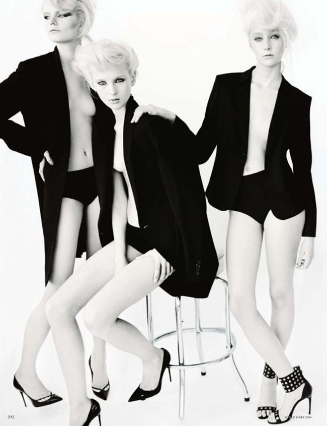VOGUE GERMANY Irene Hiemstra Anabela Belikova, Anmari Botha & Nastya Sten in White on Blonde by Mario Testino. Sarajane Hoare, March 2014, www.imageamplified.com, Image amplified (1)