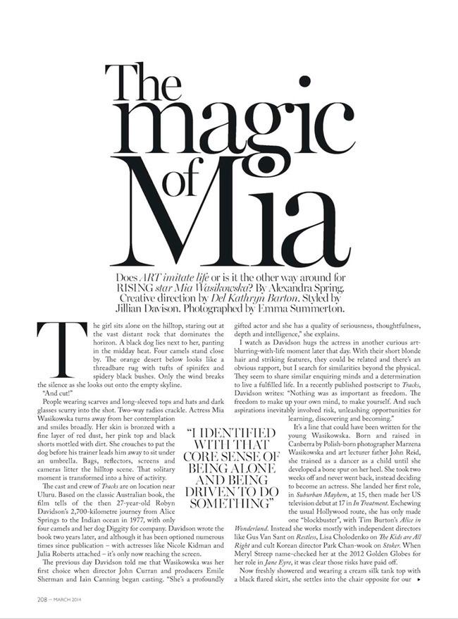 VOGUE AUSTRALIA Mia Wasikowska in The Magic oOf Mia by Emma Summerton. Jillian Davison, March 2014, www.imageamplified.com, Image Amplified (2)