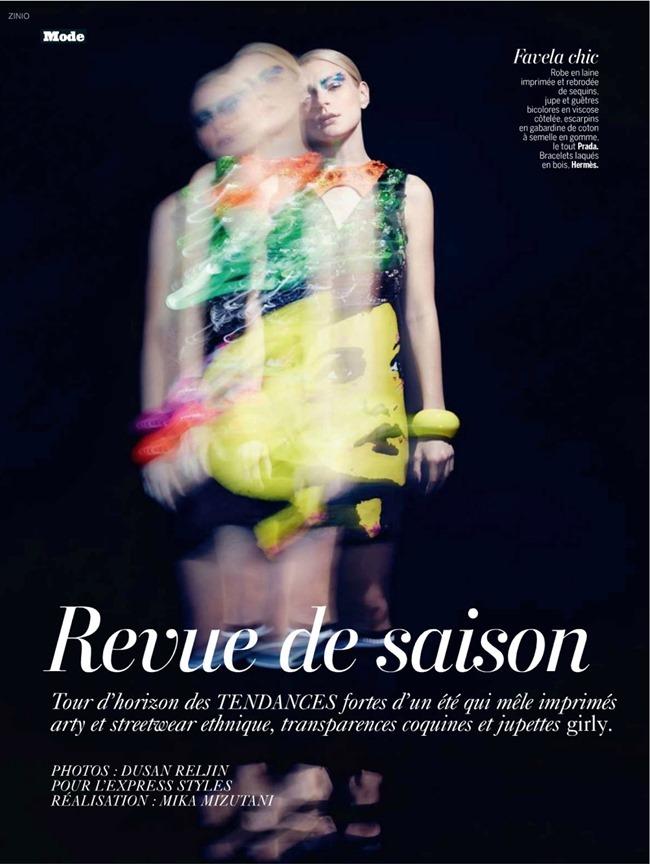 L'EXPRESS STYLES Jessica Stam & Ava Smith in Revue De Saison by Dusan Reljin. Mika Mizutani, February 2014, www.imageamplified.com, Image Amplified (1)