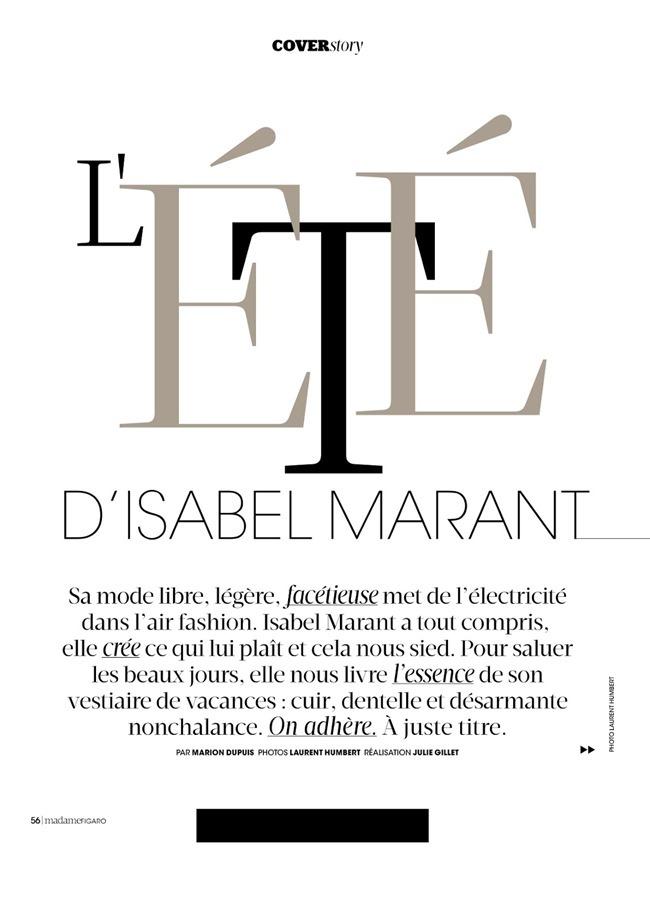 MADAME FIGARO FRANCE Julia Frauche in L'ete D'isabel Marant by Laurent Humbert. Julie Gillet, June 2014, www.imageamplified.com, Image Amplified (2)