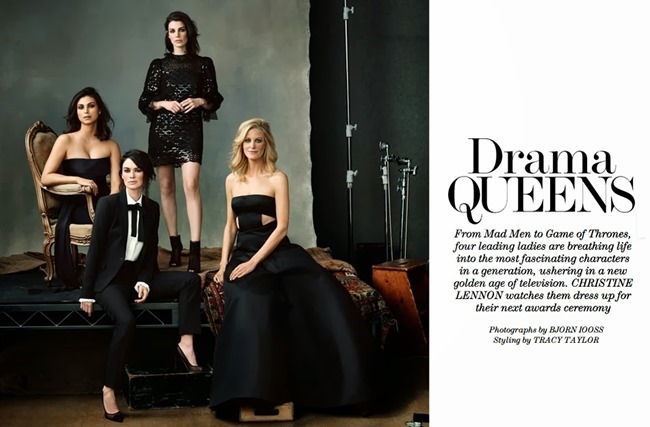 THE EDIT MAGAZINE Jessica Pare, Lena Headey, Morena Baccarin & Anna Gunn in Drama Queens by Bjorn Looss. Tracy Taylor, January 2014, www.imageamplified.com, Image Amplified (4)