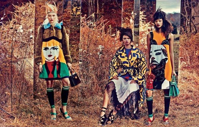 W MAGAZINE Sasha Luss, Marina Nery, Malaika Firth, Juliana Schurig & Irene Hiemstra in Field Day by Craic McDean. Edward Enninful, February 2014, www.imageamplified.com, Image amplified (3)