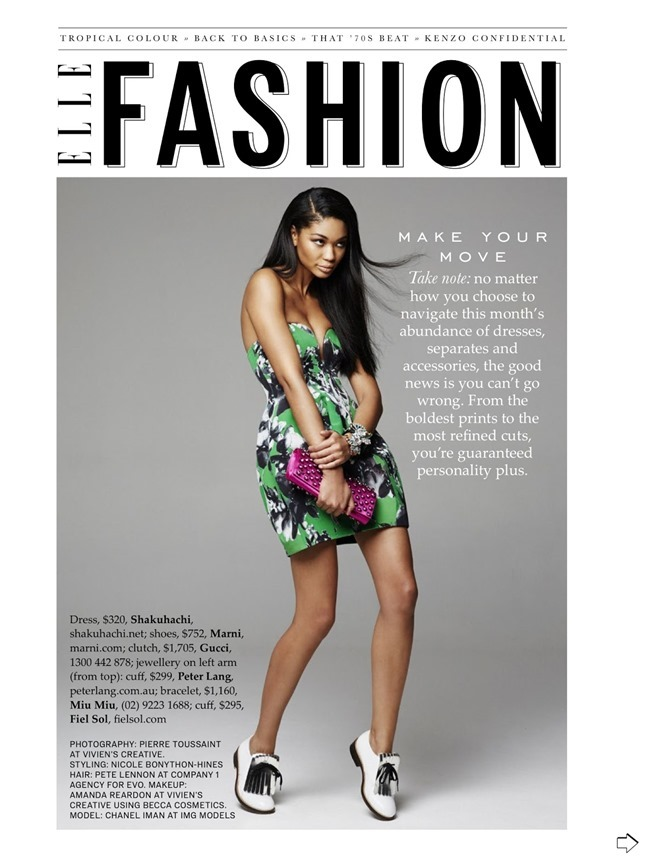 ELLE AUSTRALIA Chanel Iman in Tropical Punch by Pierre Toussaint. Nicole Bonython-Hines, February 2014, www.imageamplified.com, image Amplified (1)