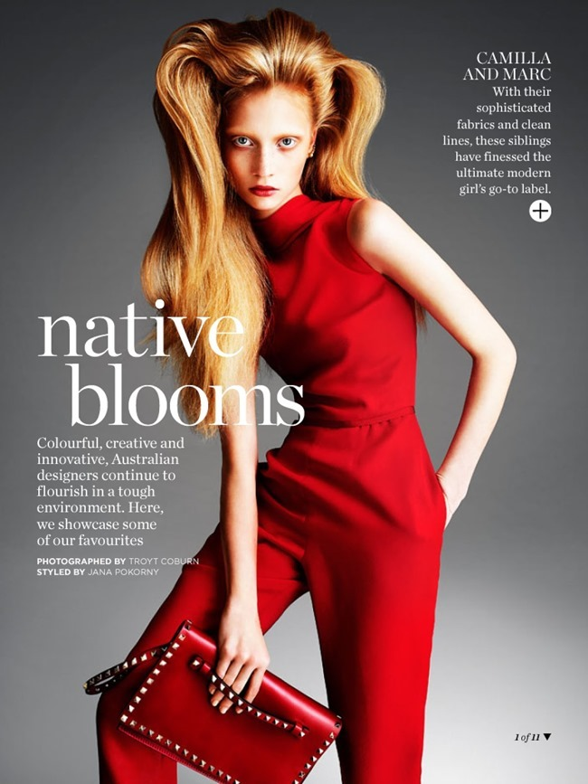 MARIE CLAIRE AUSTRALIA Solveig Mork Hansen, Karina Kozionova & Laura Mitchell in Native Blooms. Jana Pokorny, March 2014, www.imageamplified.com, Image Amplified (1)