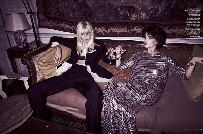 VOGUE RUSSIA Nadja Bender & Fanny Francois in The Muses of YSL by Mariano Vivanco. Olga Dunina, April 2014, www.imageamplified.com, Image amplified (6)