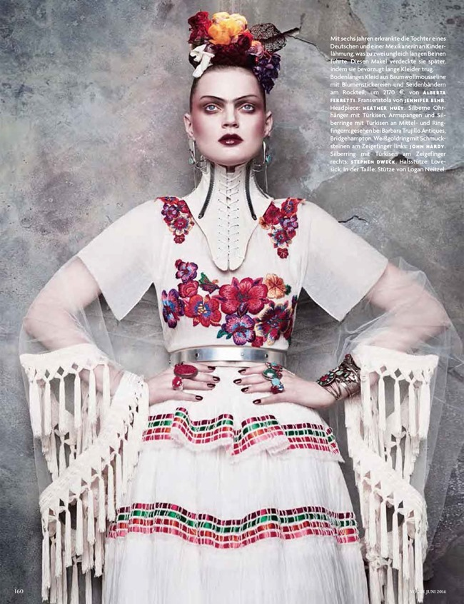 VOGUE GERMANY Guinevere Van Seenus in Frida Kahlo by Luigi   Iango. Patti Wilson, June 2014, www.imageamplified.com, Image amplified (2)