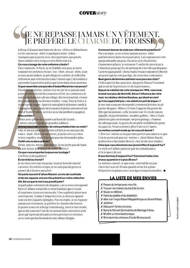 MADAME FIGARO FRANCE Julia Frauche in L'ete D'isabel Marant by Laurent Humbert. Julie Gillet, June 2014, www.imageamplified.com, Image Amplified (6)