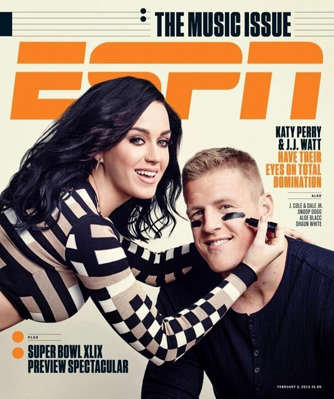 ESPN MAGAZINE Katy Perry & J.J. Watt by Joe Pugliese. February 2015, www.imageamplified.com, Image Amplified (2)
