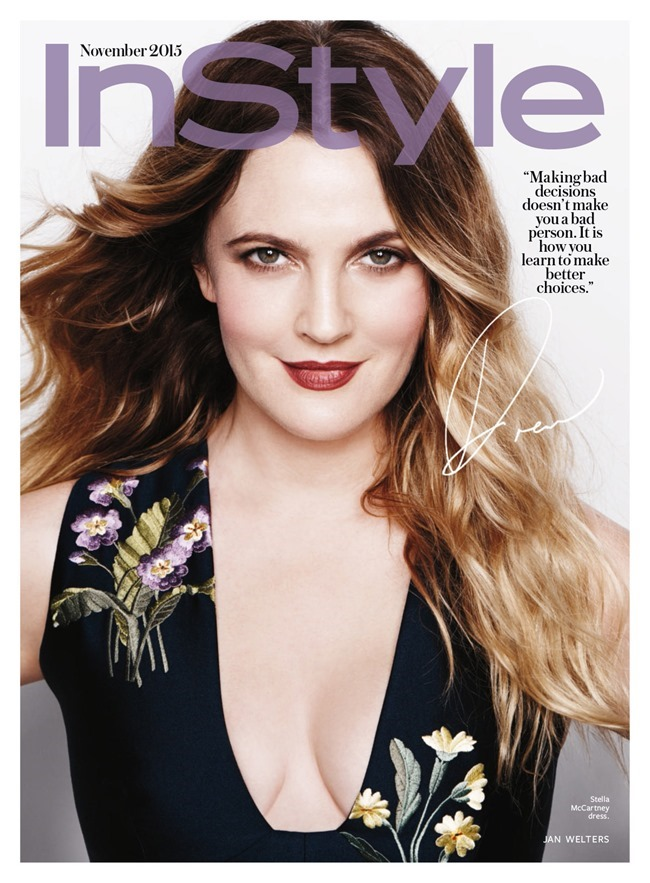 STYLE REWIND Drew Barrymore for InStyle Magazine, November 2015 by Jan Welters. Melissa Rubini, www.imageamplified.com, Image Amplified